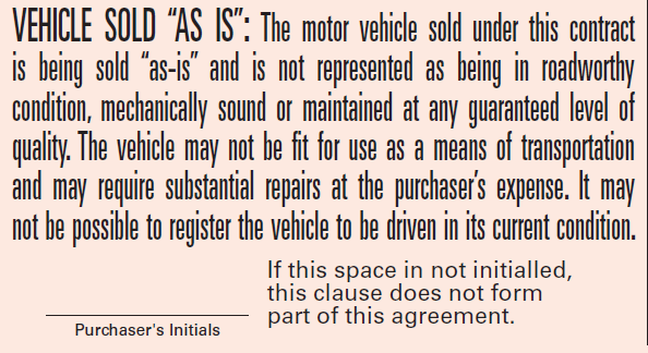 vehicle sold as is form