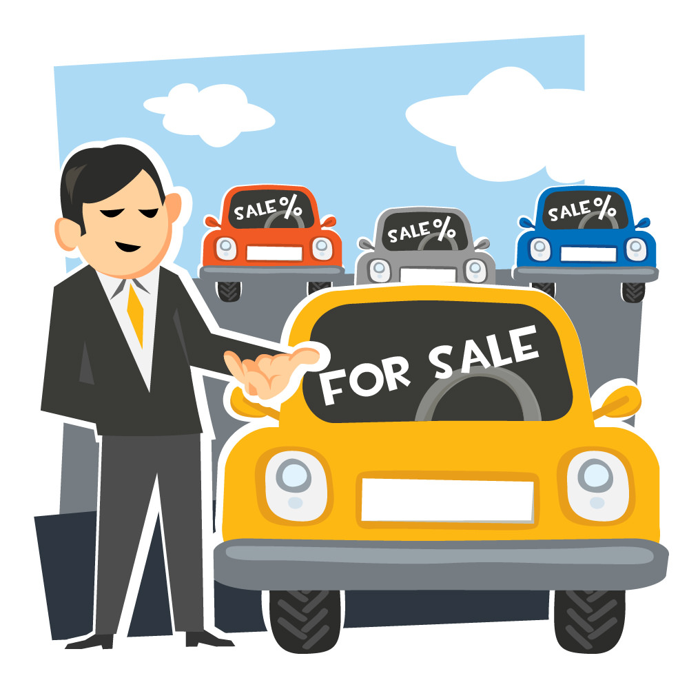 car salesman illustration