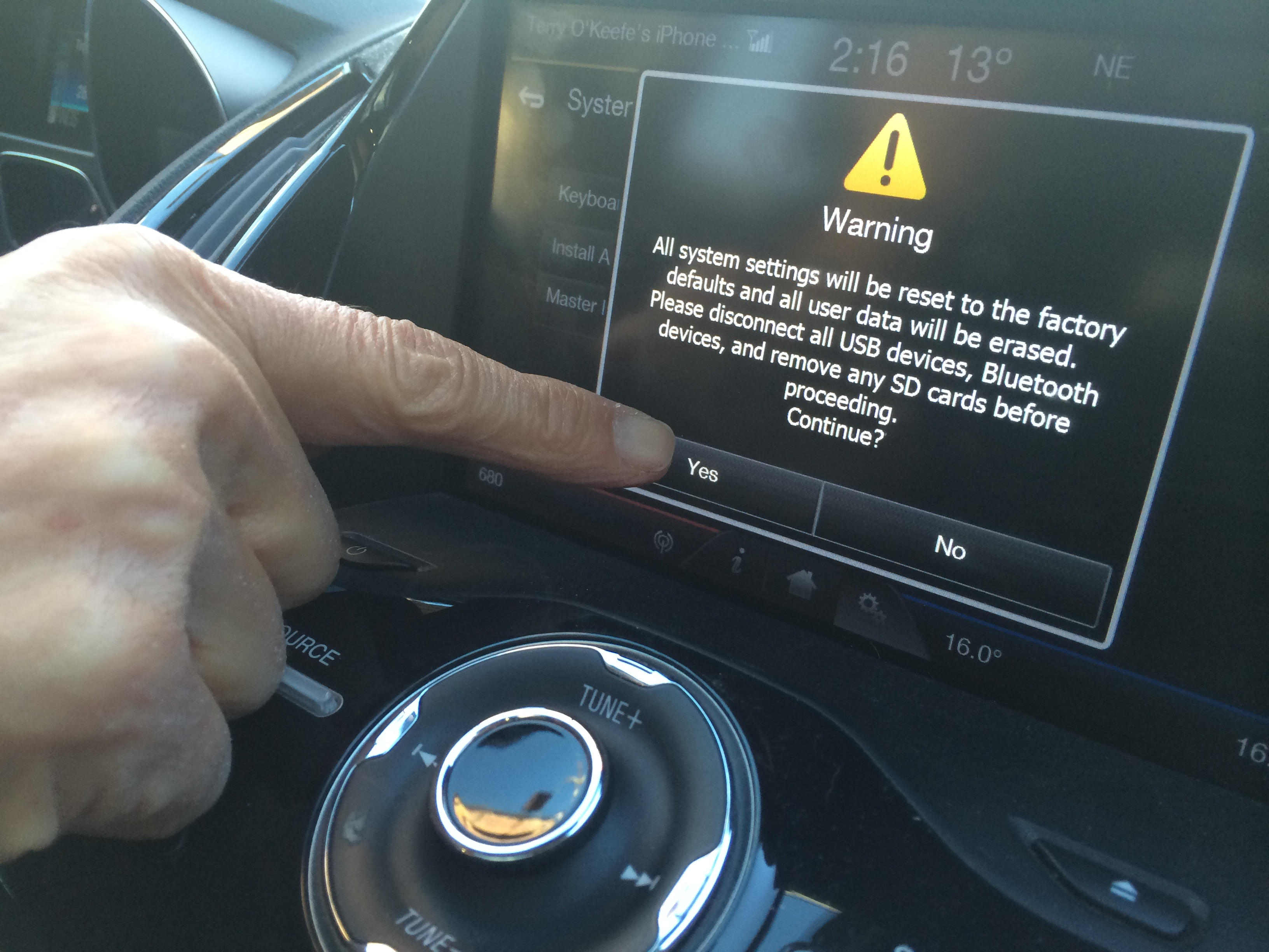 Warning-Car Settings Reset